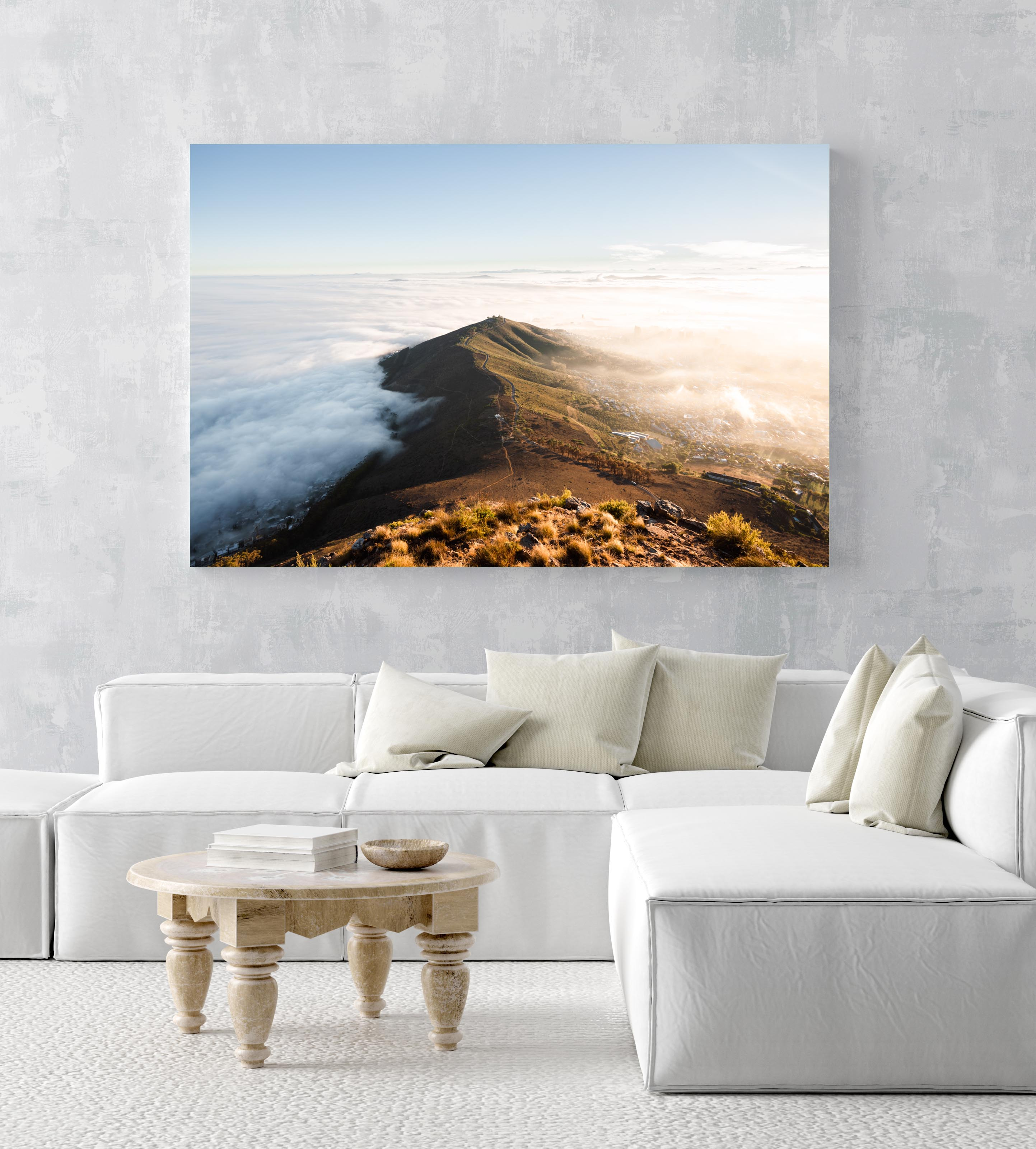 Mist rolling over cape town and signal hill from lions head in an acrylic/perspex frame