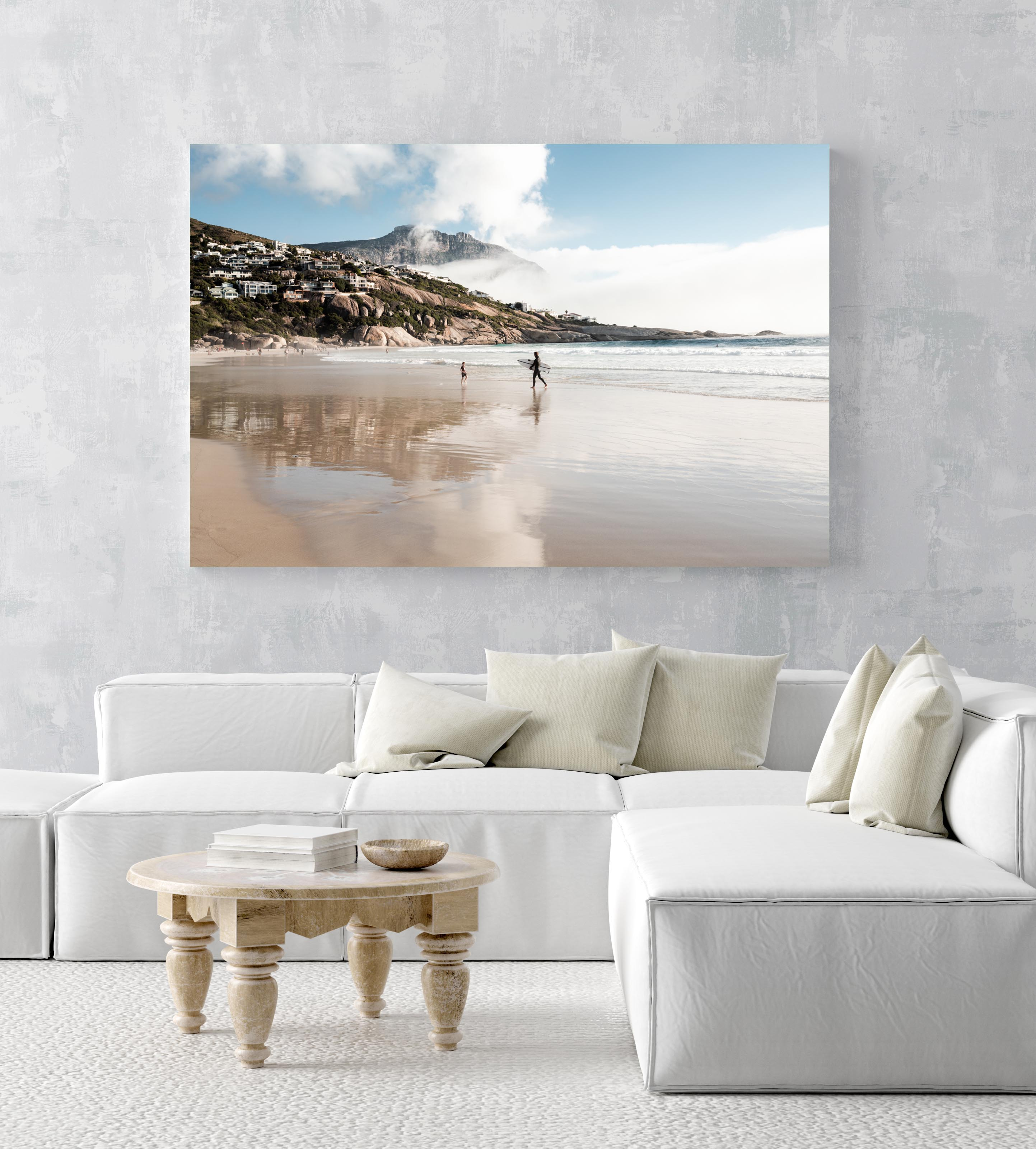 Surfer walking towards a kid on Llandudno Beach in Cape Town in an acrylic/perspex frame