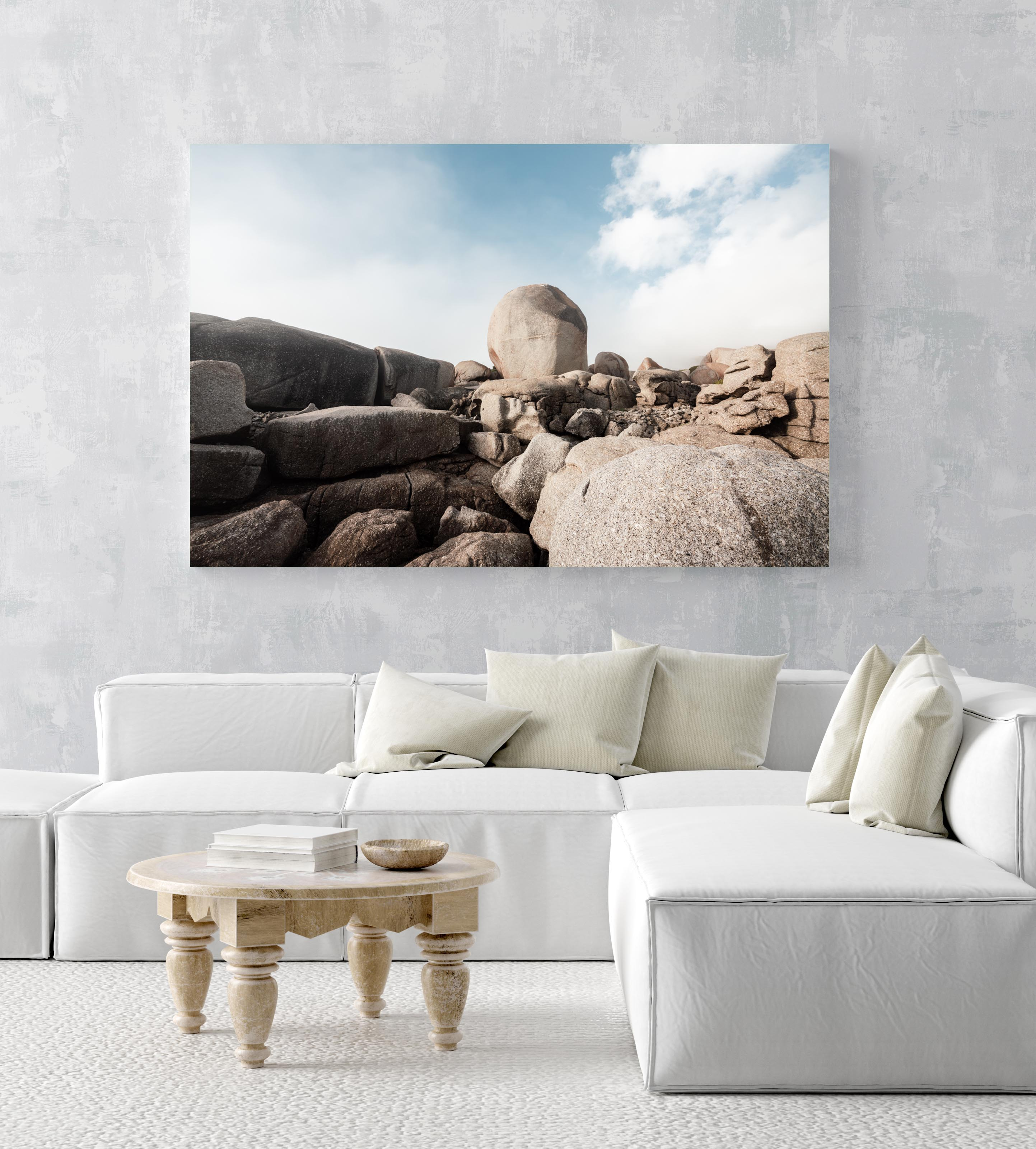 Big boulder rocks along coast of Cape Town in an acrylic/perspex frame