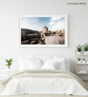 Big boulder rocks along coast of Cape Town in a white fine art frame