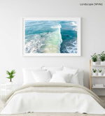 Wave crashing over surfer from above in Sandy Bay beach Cape Town in a natural fine art frame