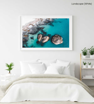 Aerial of three big boulders in blue Atlantic Sea in Clifton Cape Town in a white fine art frame