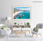 Aerial of Clifton Beach with blue water and sky on a summer day in Cape Town in a natural fine art frame