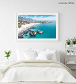 Aerial of Clifton Beach with blue water and sky on a summer day in Cape Town in a white fine art frame
