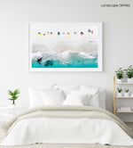 Aerial of colorful towels and umbrellas along blue sea on Clifton Beach Cape Town in a white fine art frame