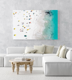 Colorful umbrellas, towels and people along white sand of Clifton Beach Cape Town in an acrylic/perspex frame