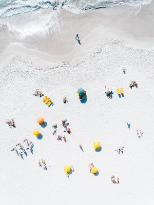 Aerial of white sand with umbrellas on Clifton Beach Cape Town