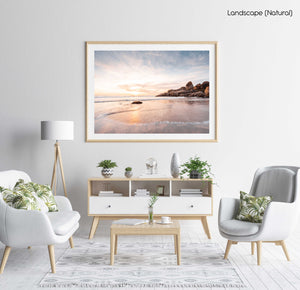 Long exposure of waves and sunset at Llandudno Beach Cape Town in a natural fine art frame