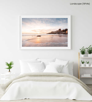Long exposure of waves and sunset at Llandudno Beach Cape Town in a white fine art frame