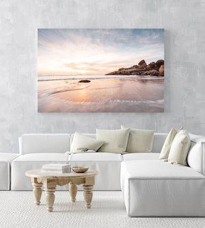 Long exposure of waves and sunset at Llandudno Beach Cape Town in an acrylic/perspex frame