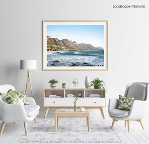 Windy offshore wave at Camps Bay Beach with Twelve Apostles mountains in a natural fine art frame