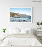 Windy offshore wave at Camps Bay Beach with Twelve Apostles mountains in a white fine art frame