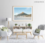 Lions Head mountain from Camps Bay Beach in Cape Town in a natural fine art frame