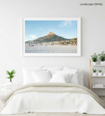 Lions Head mountain from Camps Bay Beach in Cape Town in a white fine art frame