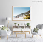 Palm tree and people sunbathing at Clifton fourth beach in Cape Town in a natural fine art frame
