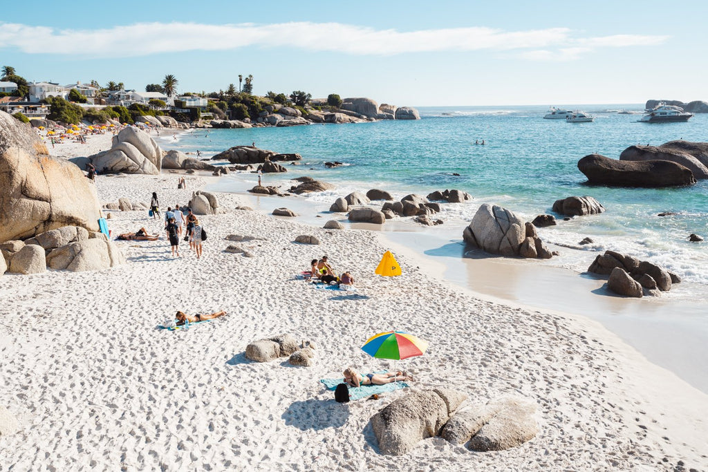 People tanning along the coast of Clifton in Cape Town