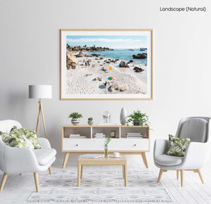 People tanning along the coast of Clifton in Cape Town in a natural fine art frame