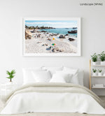 People tanning along the coast of Clifton in Cape Town in a white fine art frame