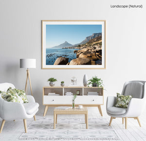 Lions Head seen from Oudekraal's blue water and rocks in a natural fine art frame