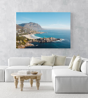 Llandudno Beach and its mountains seen from above in an acrylic/perspex frame