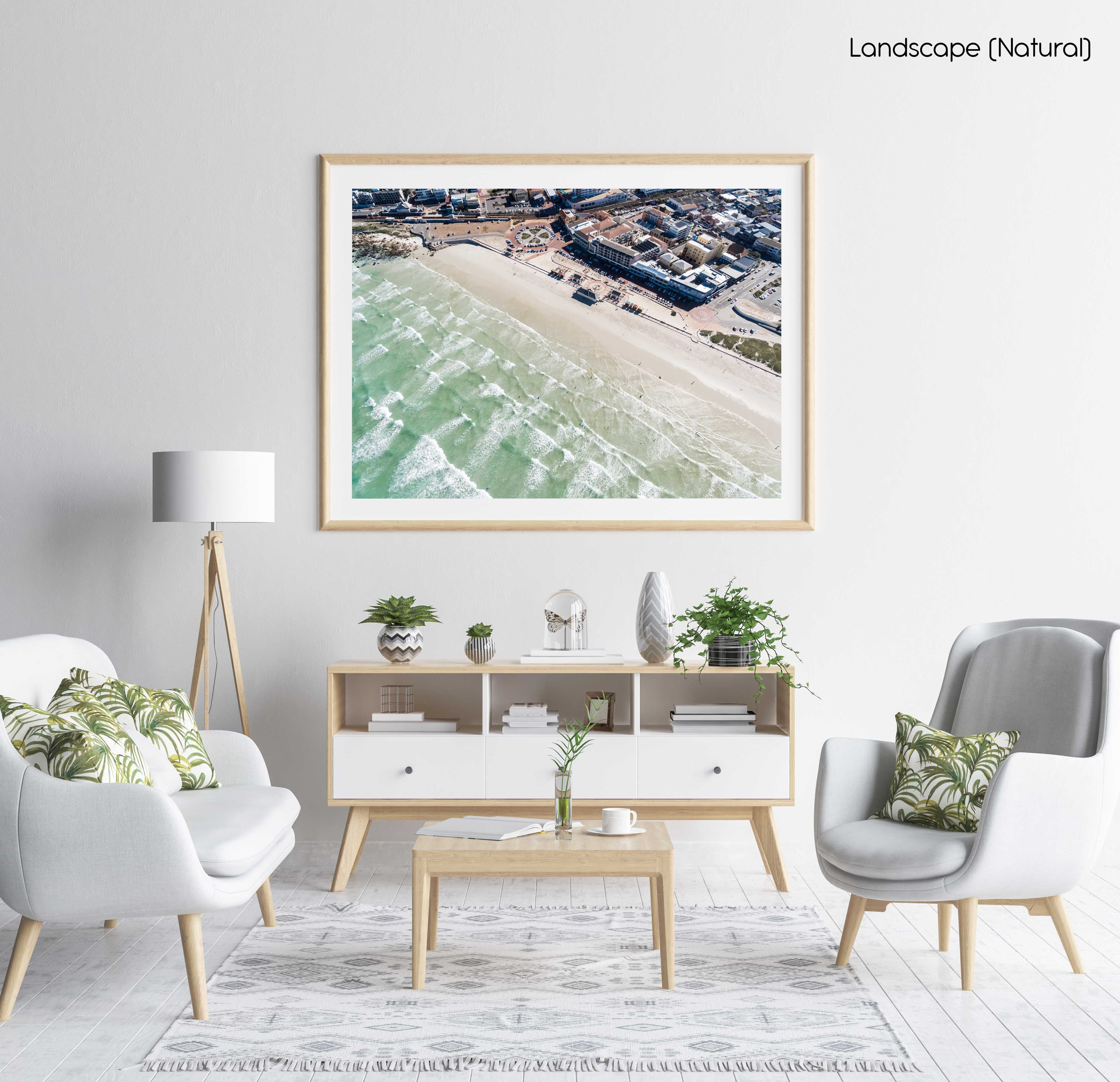 Aerial of Muizenberg beach and its waves in Cape Town in a natural fine art frame