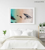 Aerial of a jagged rock along Kalk Bay coast in a white fine art frame
