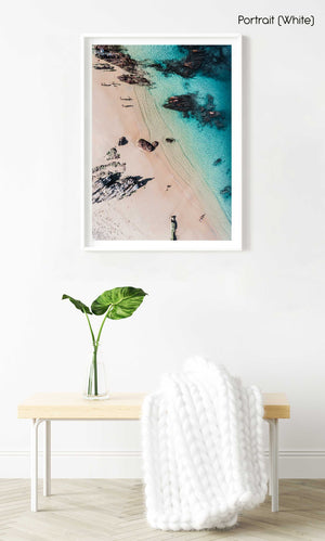 Aerial of kids playing on a beach in Kalk Bay in a white fine art frame