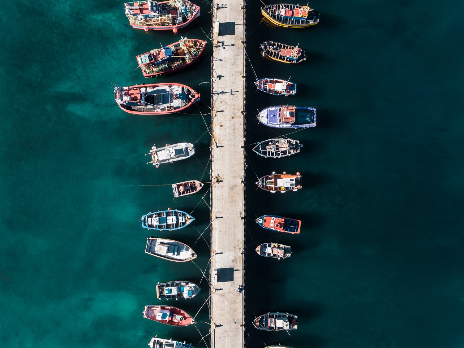 Aerial of boats docked at Kalk Bay harbour