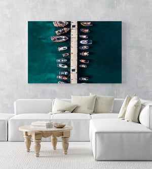 Aerial of boats docked at Kalk Bay harbour in a white fine art frame