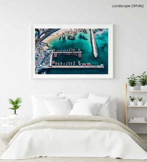 High above the boats and blue water at Kalk Bay harbour in a white fine art frame