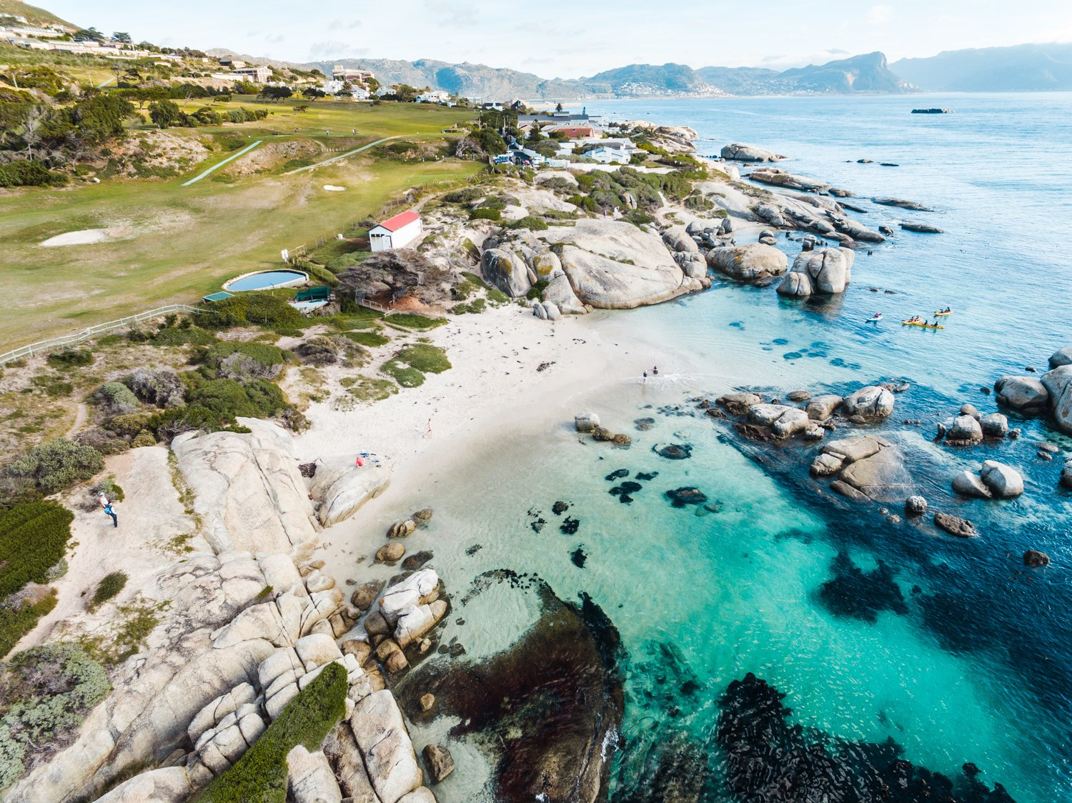 Aerial of Windmill Beach in Simons Town
