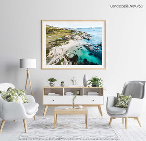 Aerial of Windmill Beach in Simons Town in a natural fine art frame