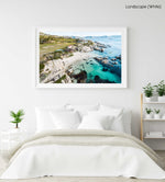 Aerial of Windmill Beach in Simons Town in a white fine art frame