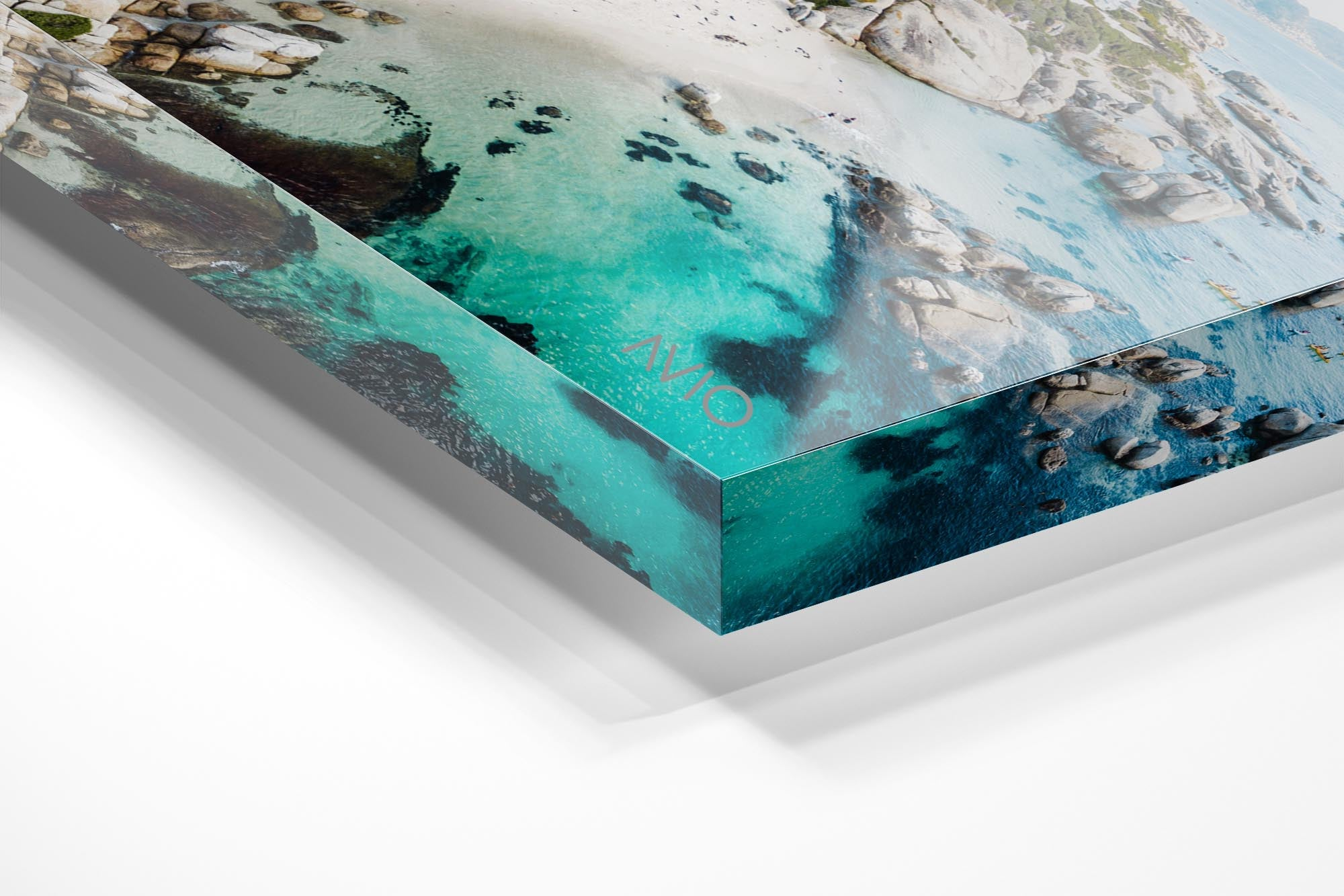 Aerial of Windmill Beach in Simons Town in an acrylic/perspex frame
