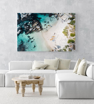 Kayaks on Windmill Beach in Simons Town from above in an acrylic/perspex frame