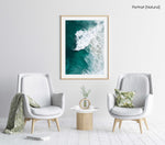 Large wave crashing at Noordhoek beach seen from above in a natural fine art frame