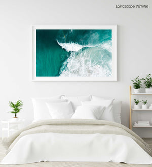 Big whitewash turquoise wave breaking with rainbow at Noordhoek Beach Cape Town in a white fine art frame