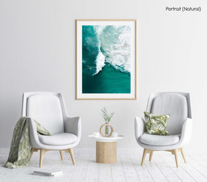 Big whitewash turquoise wave breaking with rainbow at Noordhoek Beach Cape Town in a natural fine art frame