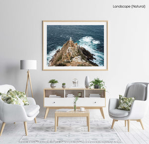 Lighthouse at Cape Point with windy ocean in a natural fine art frame