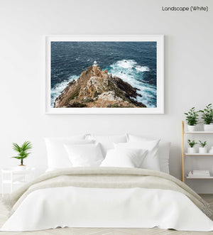 Lighthouse at Cape Point with windy ocean in a white fine art frame