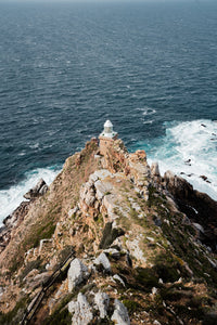Lighthouse at Cape Point South Africa on windy day
