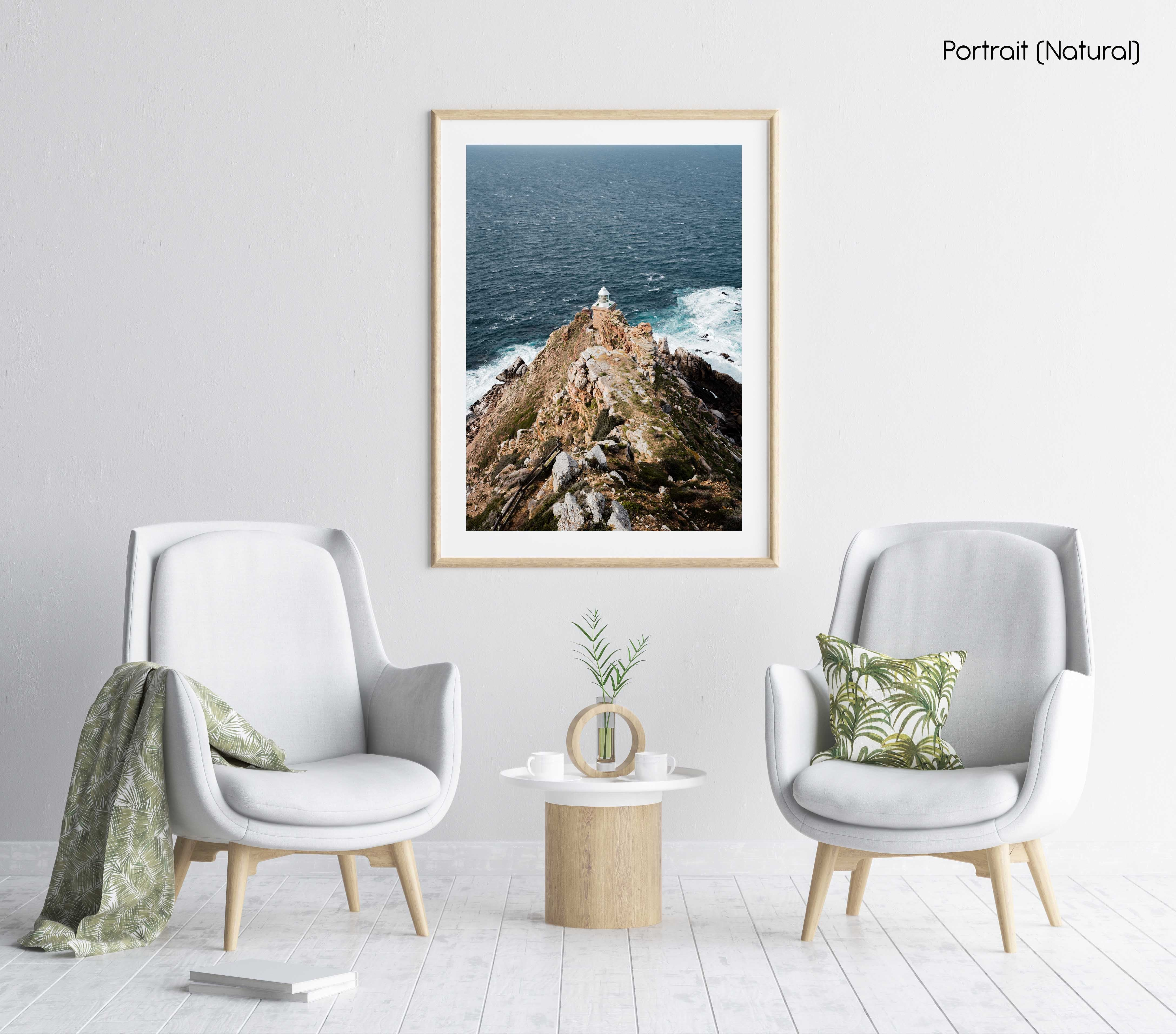 Lighthouse at Cape Point South Africa on windy day in a natural fine art frame