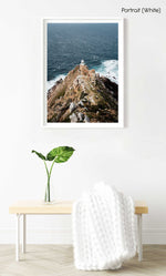 Lighthouse at Cape Point South Africa on windy day in a white fine art frame