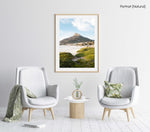 Lions Head seen from Camps Bay beach with green grass in a natural fine art frame