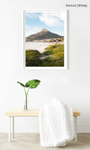 Lions Head seen from Camps Bay beach with green grass in a white fine art frame