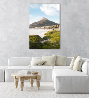 Lions Head seen from Camps Bay beach with green grass in an acrylic/perspex frame
