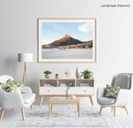 Lions Head glowing from sunset at Camps Bay beach in a natural fine art frame