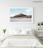 Lions Head glowing from sunset at Camps Bay beach in a white fine art frame