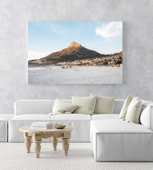 Lions Head glowing from sunset at Camps Bay beach in an acrylic/perspex frame