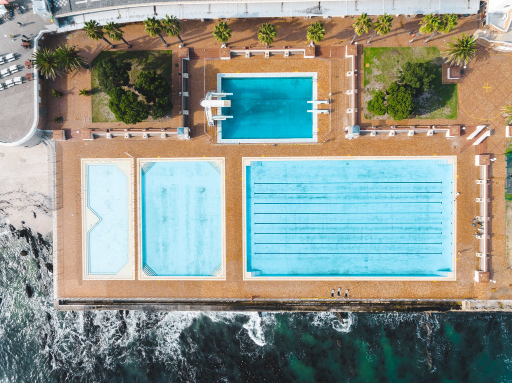Aerial topdown of promenade pools in Sea Point Cape Town